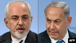 A combo photo of Iranian Foreign Minister Mohammad Javad Zarif (L) and Israeli Prime Minister Benjamin Netanyahu