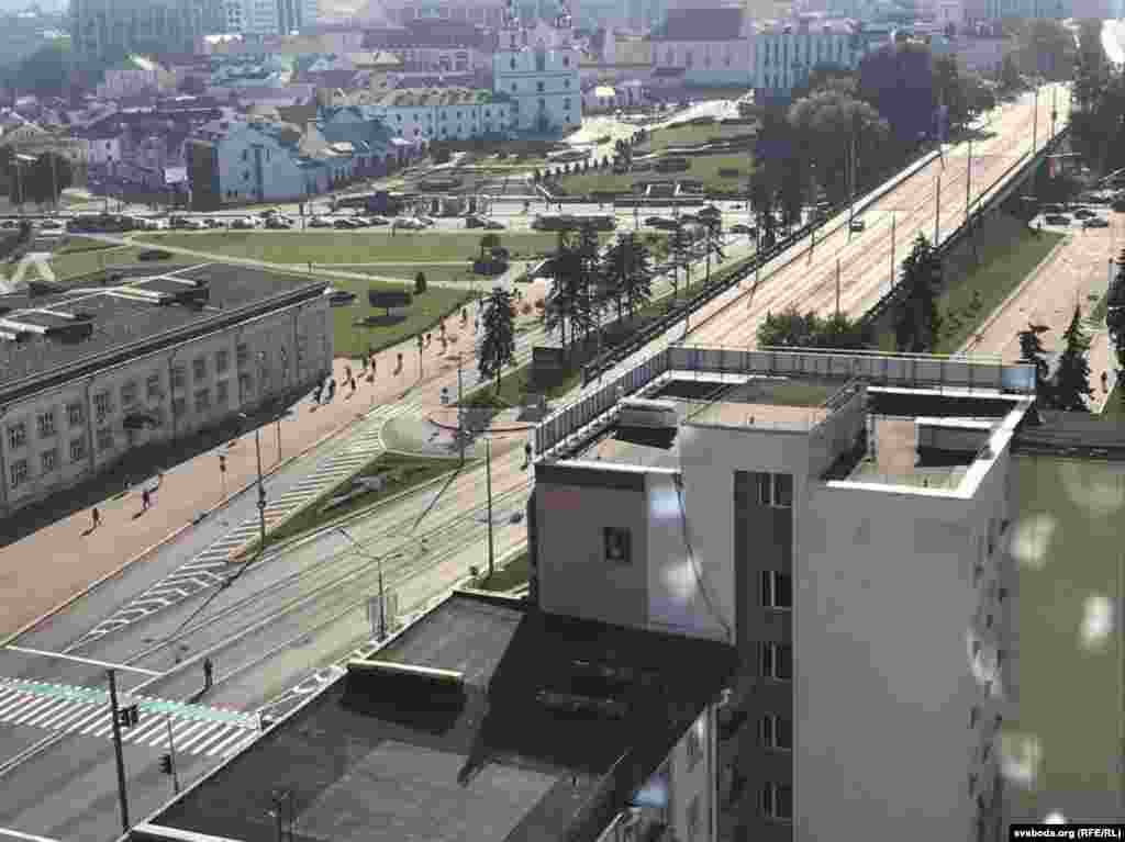 მინსკის დაცარიელებული ქუჩები 23 სექტემბერს.