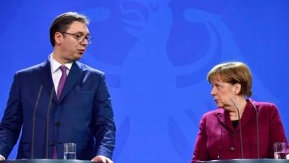 Aleksandar Vučić i Angela Merkel, Berlin, 2017.