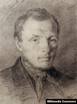 Письменник Федір Достоєвський в 26 років, малюнок К. Трутовського, італійський олівець, папір, 1847 рік