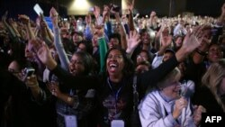 Supporters of President Barack Obama cheer during the Obama Election Night watch party at McCormick Place in Chicago, Illinois.