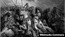 Гюстав Доре. Битва при Арсуфе (1191). Ричард Львиное Сердце и Саладин. Фрагмент полотна
