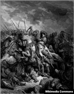 Гюстав Доре. Битва при Арсуфе (1191). Ричард Львиное Сердце и Саладин