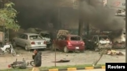 File photo of a previous bomb attack in Pakistan.