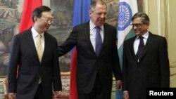 Москва 13.04.2012, Шефовите на дипломатиите на Русија, Кина и Индија