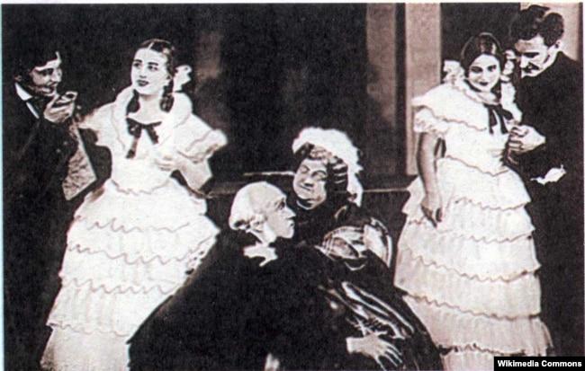 Сцэна са спэктакля «Даходнае месца» Аляксандра Астроўскага, 1936 год