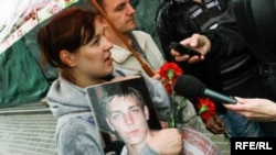A photo from the Belarus Service's live-blog coverage of an aborted protest on September 9, 2013, honoring a man who died in a Minsk jail.