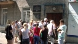 UKRAINE- Donetsk, so-called Migration Service of militant group «DPR». Queue of people who wants to receive Russian passport
