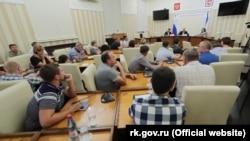 Сергій Аксенов зустрічається з колективом «Кримавтотрансу», 6 серпня 2019 року