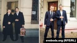 Аляксей Янукевіч і Павал Севярынец у 1999 і 2017 годзе