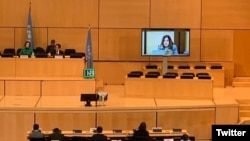 Diane Alai, Representative of the Baha'i International Community to the United Nations in Geneva, delivering a statement to the United Nations Human Rights Council on March 10, 2020.