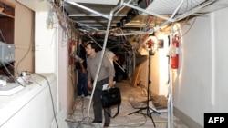 Сирияның мемлекеттік телеарнасына жасалған шабуылдан кейінгі көрініс. 6 тамыз 2012 жыл.