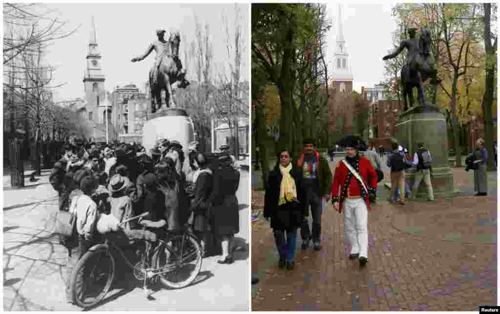 Left photo: John F. Kennedy campaigning for the U.S. Congress under a statue of Paul Revere in Boston in June 1946. Right photo: A guide dressed as a British soldier from the U.S. Revolutionary War leads a tour past the same statue on November 15, 2013.