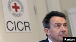 Switzerland -- Peter Maurer, President of the International Committee of the Red Cross (ICRC), at a news conference in Geneva, 07Sep2012