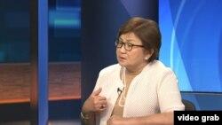 Czech Republic - Prague - RFE/RL Tajik Service interview with former Kyrgyz President Roza Otunbaeva - screen grab
