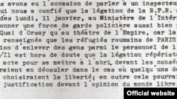 Fragment dintr-un document păstrat în Arhiva Europei Libere la Budapesta