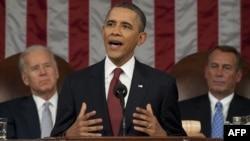 Президент США Барак Обама выступает на совместном заседании палат конгресса США. Вашингтон, 24 января 2012 года.