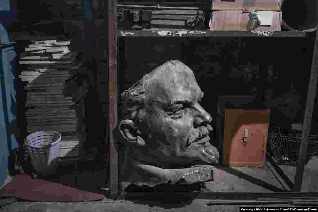 The head of a Lenin monument in storage at the National Historical Museum in Dnipropetrovsk