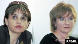 "Oksana Makushina (left), deputy editor in chief of ""Respublika,"" and Tatyana Trubacheva, the editor in chief of ""Golos Respubliki"""