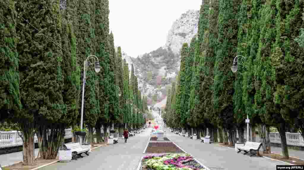 Головна визначна пам'ятка селища Сімеїз – кипарисова алея. Тут ведуться ремонтні роботи