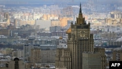 Russia -- Aaerial view of central Moscow, with the headquarters of Russian Foreign Ministry, one of the so-called Stalin high rises, in the foreground, April 06, 2012