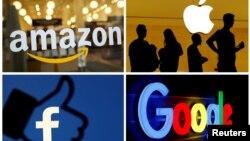 Amazon, Apple, Facebook пен Google логосы.