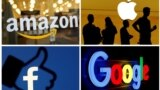 Logo-urile companiilor Amazon, Apple, Facebook și Google