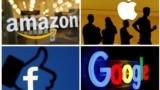 Logo-urile companiilor Amazon, Apple, Facebook și Google
