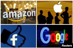Amazon, Apple, Facebook пен Google компаниялары логосы. Көрнекі сурет.
