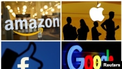 Логотипи Amazon, Apple, Facebook та Google