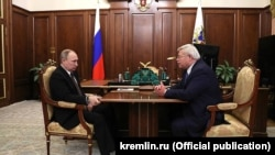 Президент России Владимир Путин и губернатор Томской области Сергей Жвачкин на встрече в Кремле