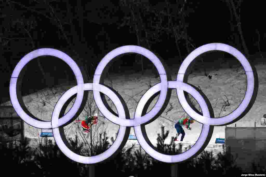 Cross-Country Skiing: Richard Jouve of France and Johannes Hoesflot Klaebo of Norway in action during Men's Team Sprint Free Qualifications at Alpensia Cross-Country Skiing Centre during the  Pyeongchang 2018 Winter Olympics, Pyeongchang, South Korea, February 21, 2018. Team of Norway took gold, team of France took silver in the discipline on February 21, 2018.