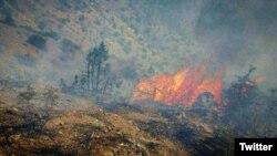 دور جدید آتشسوزی در بخشهایی از جنگل قرهداغ (ارسباران) از روز دوشنبه آغاز شده است