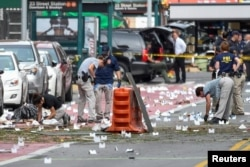 Место взрыва в районе Челси в Нью-Йорке