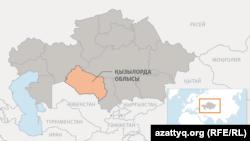 Қызылорда облысының картасы.