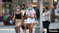 Residents wearing face masks in downtown Yerevan