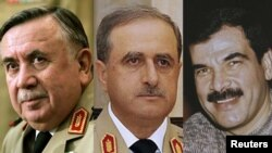 Syria -- (L-R) Former Syrian Defence Minister General Hassan Ali Turkmani, Defence Minister Daoud Rajha and Assef Shawkat, the brother-in-law of Syrian President Bashar al-Assad, combined, undated