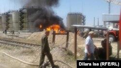 Пожар на нефтебазе в Южно-Казахстанской области. 4 августа 2016 года.