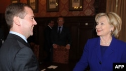 President Dmitry Medvedev and U.S. Secretary of State Hillary Clinton in Barvikha on October 13.