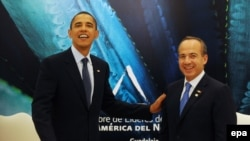 Президенты США Барак Обама (слева) и Мексики Фелипе Кальдерон