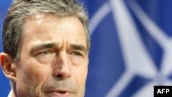 Генеральный секретарь НАТО Андерс Фог Расмуссен на итоговой пресс-конференции в Берлине