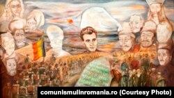 Jurământul; tabloul pictat de Cercul pionerilor din Drăgăneşti; ulei pe pânză (24 ianuarie 1978) Sursa: comunismulinromania.ro (MNIR)