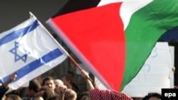 نمایی از تظاهرات عربهای اسرائیل در دانشگاه عبری که در روز سهشنبه برگزار شد. (عکس از epa)