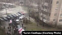 Короо ичиндеги нааразылык жүрүш. Минск шаарынын түштүк-батышы. 2020-жылдын 19-декабры.