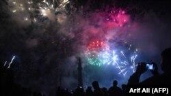 Фейерверк в Лахоре ко Дню независимости Пакистана. 14 августа 2017 года.