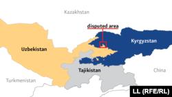 Ўзбекистон-Қирғизистон чегараси харитада.