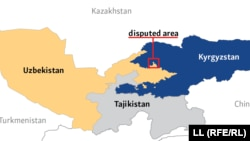 Өзбекстан мен Қырғызстан арасындағы шекара мен оның даулы аймағы көрсетілген карта.