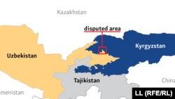Спорный район на участке границы Кыргызстана и Узбекистана.