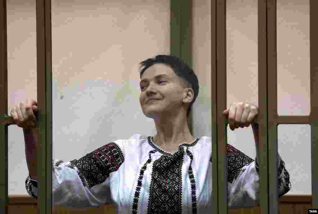 Former Ukrainian pilot Nadia Savchenko, charged with complicity in the murder of Russian journalists near Luhansk, Ukraine, reacts as she is requestioned in Donetsk City Court in Russia. (TASS/Valery Matytsin)