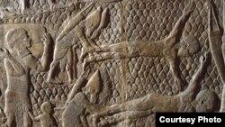 قطعة حجرية في قصر الملك الآشوري سنحاريب (700 ق.م)
